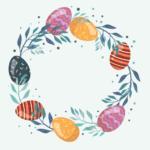 Na grafice wianek świąteczny złożony z kolorowych pisanek
